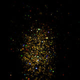 Glitter vintage lights background. dark gold and black. Christmas card Royalty Free Stock Photo