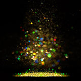 Glitter vintage lights background. dark gold and black. Christmas card Royalty Free Stock Photos