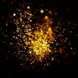 Glitter vintage lights background. dark gold and black. Christmas card Stock Image