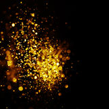 Glitter vintage lights background. dark gold and black. Christmas card Royalty Free Stock Images