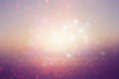 Glitter vintage lights background. de-focused Stock Images
