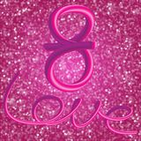 Glitter vintage lights background. Elegant 3d figure 8 and the i. Nscription Love, executed by the movement of the heart. Light silver, and pink. defocused Stock Images