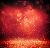 Glitter vintage lights background. gold, red and purple. defocused Royalty Free Stock Photo