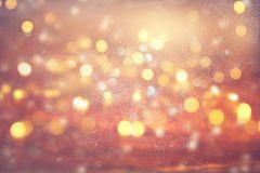 Glitter vintage lights background. gold and silver. de focused.  Royalty Free Stock Photography