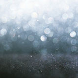 Glitter vintage lights background. light silver and black. defocused. Royalty Free Stock Photos