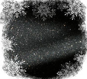 Glitter vintage lights background. light silver and black. defocused. with snowflakes overlay Stock Photo