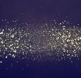 Glitter vintage lights background. light silver, blue and black. defocused. abstract Stock Image