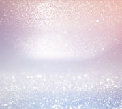 Glitter vintage lights background. light silver, and pink. defocused. Royalty Free Stock Image