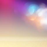 Glitter vintage lights background. light silver, purple, blue, gold and black. defocused. Royalty Free Stock Photo