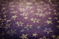 Glitter vintage lights background. purple and silver. defocused. Royalty Free Stock Photography