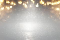 glitter vintage lights background. silver, gold and gray. de-focused. Royalty Free Stock Images