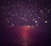 Glitter vintage lights background. silver, purple and black Royalty Free Stock Images
