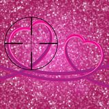 Glitter vintage lights background.Two perfect 3d hearts. light s. Ilver, and pink. Defocused. Heart At Gunpoint Royalty Free Stock Image