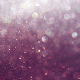 Glitter vintage lights background. white and purple. defocused Royalty Free Stock Images