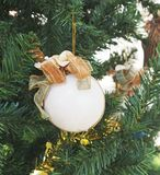 Glitter white christmas ball Stock Images