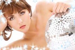 Glitterball Dameportrait Lizenzfreie Stockbilder