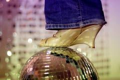 Glitterball en schoen Royalty-vrije Stock Afbeeldingen