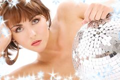 Glitterball lady portrait Royalty Free Stock Images