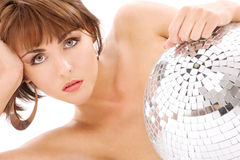 Glitterball lady portrait Royalty Free Stock Photo