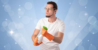 Glittered background with male housekeeper Royalty Free Stock Image