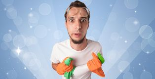 Glittered background with male housekeeper Royalty Free Stock Photos