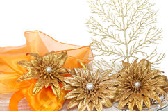 Glittered decoration in white background Royalty Free Stock Images