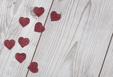 Glittered red Valentine`s hearts card Stock Images