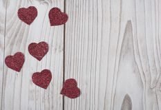 Glittered red Valentine`s hearts card Royalty Free Stock Photos