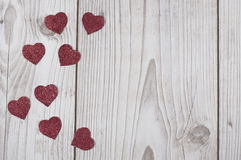 Glittered red Valentine`s hearts card Royalty Free Stock Photography