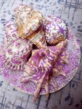 Glittered sea shells Royalty Free Stock Image