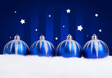 Glittering blue christmas balls Royalty Free Stock Photos