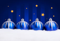 Glittering blue christmas balls Stock Photos