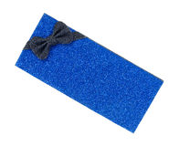 Glittering Blue Gift Box With Bow Royalty Free Stock Images