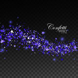 Glittering blue stream of sparkles. Royalty Free Stock Image