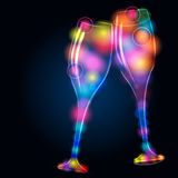 Glittering champagne glasses Stock Images