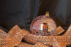 Glittering Christmas balls against a black background Royalty Free Stock Photos