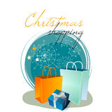 Glittering Christmas shopping bags Stock Images