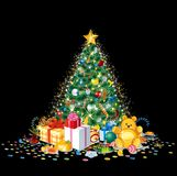 Glittering Christmas tree with colorful ornaments Stock Images