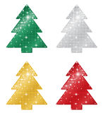 Glittering Christmas Trees Stock Photos
