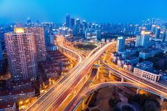 A glittering city highway intersection Royalty Free Stock Photography