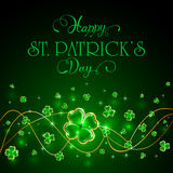 Glittering clover leaves on green Patricks Day background. Green Patricks Day background with glittering clover and holiday lettering Happy St. Patrick`s Day Royalty Free Stock Photography