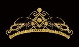Glittering Diadem. Golden tiara isolated on black background. stock illustration