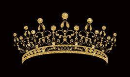 Glittering Diadem. Golden tiara isolated on black background. vector illustration