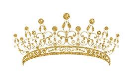 Glittering Diadem. Golden tiara isolated on white background. Vector illustration vector illustration