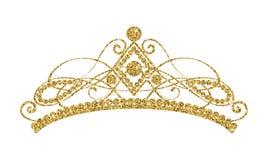 Glittering Diadem. Golden tiara isolated on white background. stock illustration