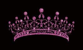 Glittering Diadem. Pink purple tiara isolated on black background. stock illustration