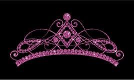 Glittering Diadem. Pink purple tiara isolated on black background. royalty free illustration