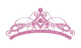Glittering Diadem. Pink tiara isolated on white background. vector illustration