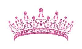 Glittering Diadem. Pink tiara isolated on white background. stock illustration