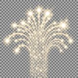 Glittering flying stars, golden color. Glittering flying stars with star dust, glowing stars on transparent background, light effect, golden color Stock Photos